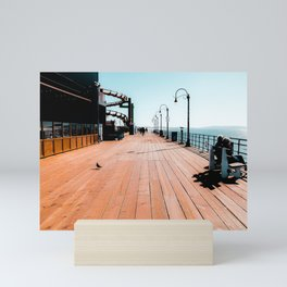 Summer at Santa Monica Pier California USA with blue sky Mini Art Print