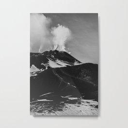 Etna Volcano. Sicily, Italy. Black and White Fine Art Travel Print. Wall Art. Metal Print