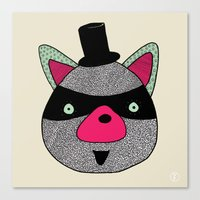 racoon Canvas Prints featuring Racoon by nataly