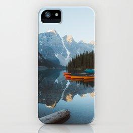 Moraine Lake Canoes iPhone Case