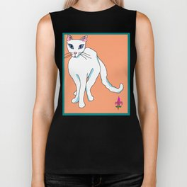 White Kitty with Blue Eyes and Teal Border Biker Tank