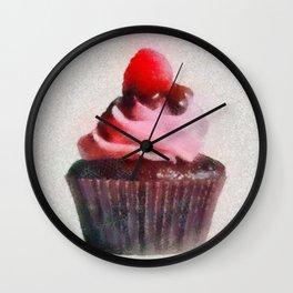 Yummy Cupcake with Raspberry Wall Clock