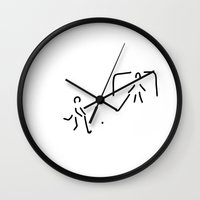 hockey Wall Clocks featuring hockey field hockey rolling hockey player by Lineamentum