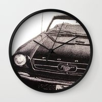 mustang Wall Clocks featuring Mustang by Lindsay Carter