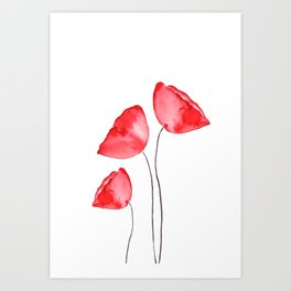 3 red poppies watercolor Art Print