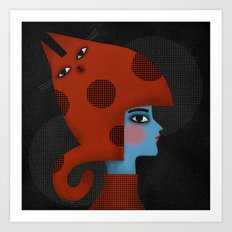 RED CAT HAT Art Print