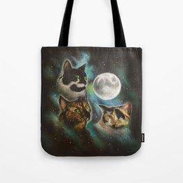 Three Cat Moon Tote Bag