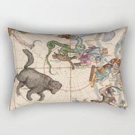 Pictorial Celestial Map with Constellations Ursa Major and Ursa Minor Rectangular Pillow