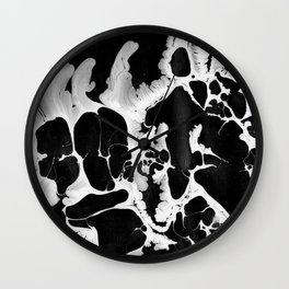 Black And White Wet Paint Modern Pattern Photography Wall Clock