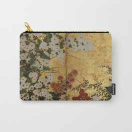 White Red Chrysanthemums Floral Japanese Gold Screen Carry-All Pouch