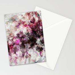 Modern Abstract Painting in Purple and Pink Tones Stationery Cards