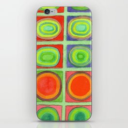 Green Grid filled with Circles and intense Colors iPhone Skin