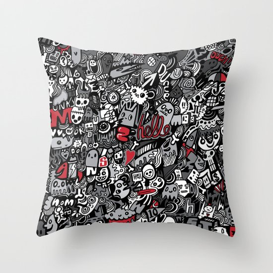 Doodled To Death Throw Pillow
