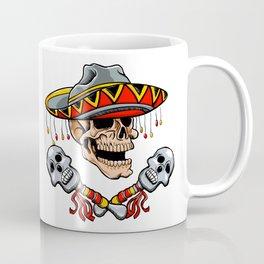 Skull Mexican style with sombrero and maracas Coffee Mug