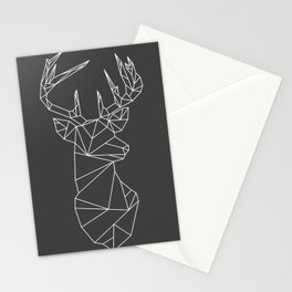 Greometric Stag (White on Grey) Stationery Cards