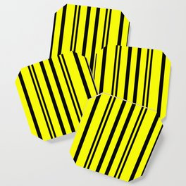 NEON YELLOW AND BLACK THIN AND THICK STRIPES Coaster