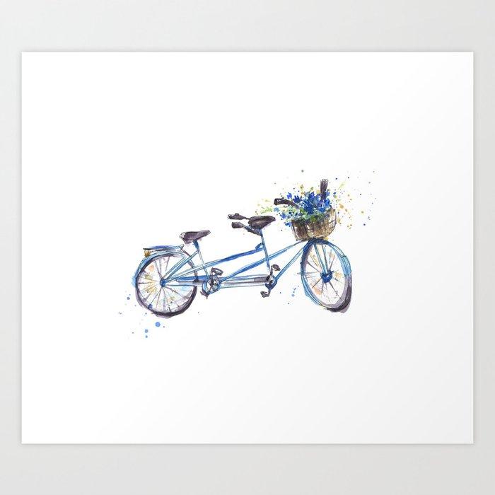 Tandem bicycle Art Print