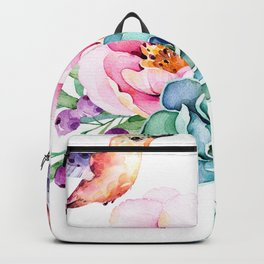 Tropical flowers & Love Birds Backpack