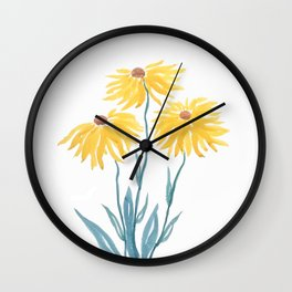 three yellow flowers Wall Clock