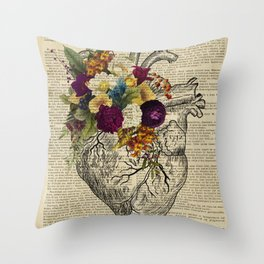 human flower heart  Throw Pillow