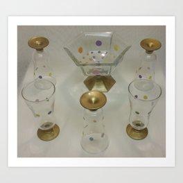 Hand-painted Glass Parfait Set  Art Print