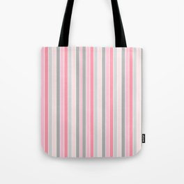 Classic Pink and Gray Stripes Tote Bag