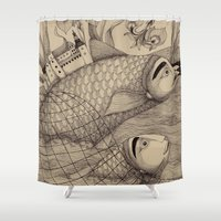 jazzberry Shower Curtains featuring The Golden Fish (1) by Judith Clay