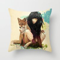 dragon ball z Throw Pillows featuring Fox Love by Ariana Perez