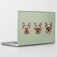 evil Laptop & iPad Skins featuring No Evil  Frenchie by Huebucket