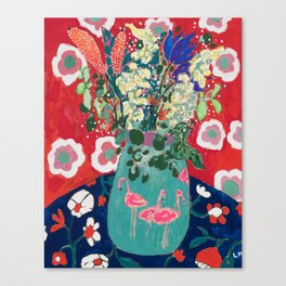 Wild Flowers in Flamingo Vase Floral Painting Canvas Print
