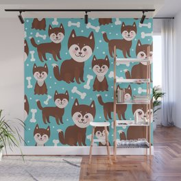 funny brown husky dog and white bones, Kawaii face with large eyes and pink cheeks blue background Wall Mural