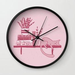 Cat, books and plants III Wall Clock