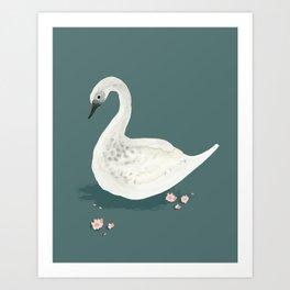 Watercolor Swan Art Print