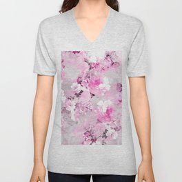 Purple grey floral watercolor romantic flowers pattern Unisex V-Neck