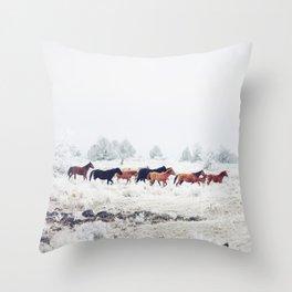 Winter Horse Herd Throw Pillow