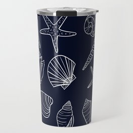 Navy Blue And White Seashell pattern Travel Mug