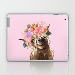 Highland Cow with Flowers Crown in Pink Laptop & iPad Skin