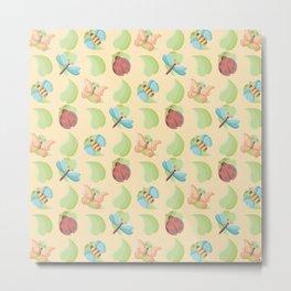 Cute Bugs & Leaves Pattern Metal Print