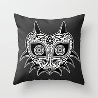 majoras mask Throw Pillows featuring Sugarskull / Majoras mask / black'n'white by tshirtsz