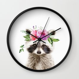 Baby Raccoon with Flower Crown Wall Clock