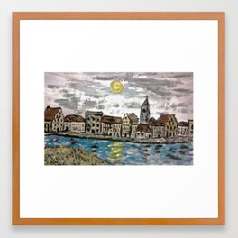 OLD FLEMISH TOWN Framed Art Print