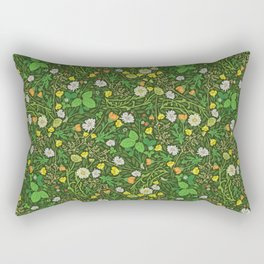 Yellow buttercup and daisies with wild strawberries on grass Rectangular Pillow