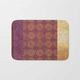 Caravans II:  Asian Print  Gold, pink  floral origami textile geometric design Bath Mat