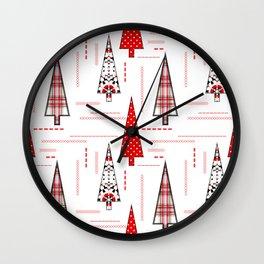 Seamless christmas applique patchwork pattern Wall Clock