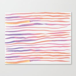 Irregular watercolor lines - pastel pink and ultraviolet Canvas Print