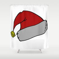hat Shower Curtains featuring Christmas hat by  MuDi
