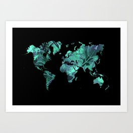 world map 77 blue Art Print