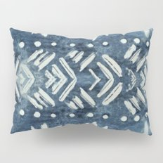 Vintage indigo inspired  flowers and lines Pillow Sham