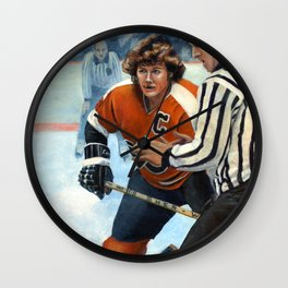 Bobby Clarke Sets for Face Off Wall Clock