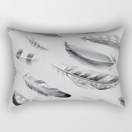 Cosmic Feathers Silver Dust Rectangular Pillow